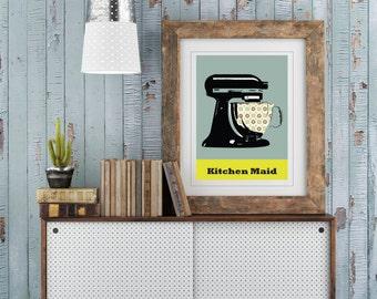 Kitchen Maid Print. Kitchen Aid Print. Retro Kitchen Print