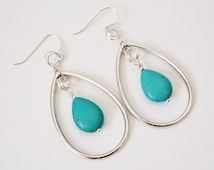Turquoise Hoop Earrings  Silver Hoop Earrings  Pierced or Non-Pierced Turquoise Gemstone Drop Dangle Teardrop