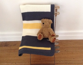 Striped Baby Blanket Slate Yellow Cream knitted pure merino wool blanket