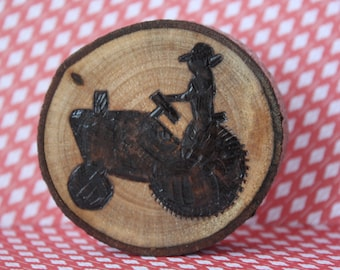 Personalized Hand Made Wood Burned Farmer Magnet or Ornament