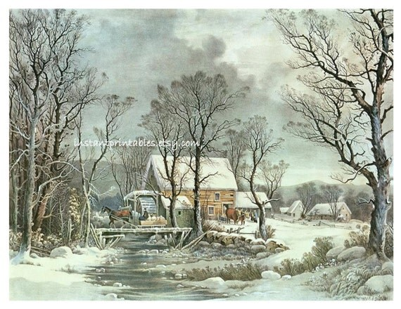 Currier Ives Winter Scene Snow Landscape Vintage 11x14 Art