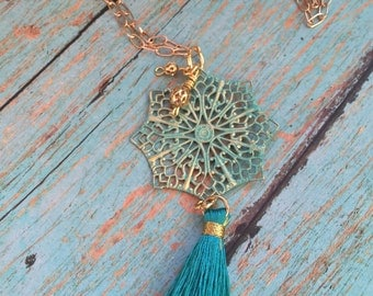 Long Tassel Necklace, Gold Chunky Chain, Patina Charm, Gold and Turquoise, Turquoise Tassel, Gold Beads