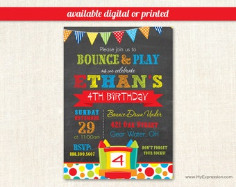 Bounce House Birthday Invitations - Pump It Up Birthday Party Invitations- Boy Birthday Invitations - Digital or Printed
