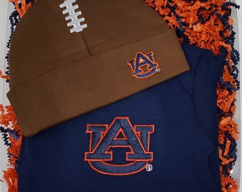 Auburn Tigers Baby Bodysuit & Football Cap Gift Set