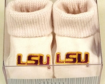 LSU Tigers Boxed Baby Booties