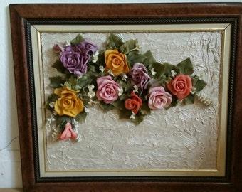 Vintage Framed Islamic ? Flower Display Roses In Resin