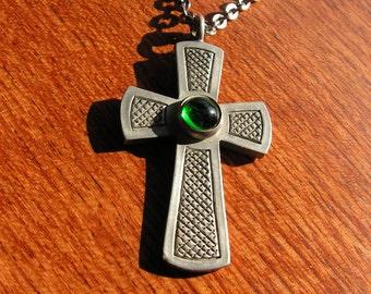 Vintage 1960's Jorgen Jensen Pewter Pendant Necklace Green Glass Cabochon Danish Mid Century Modernist Religious