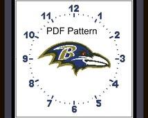 PDF Cross Stitch Pattern, Clock Baltimore Ravens LOGO, Watch, Football, Downloader Chart, Clock Cross stitch