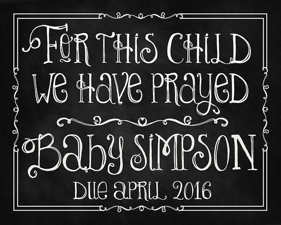 Pregnancy Shower Baptism Print Nursery For This Child We Have