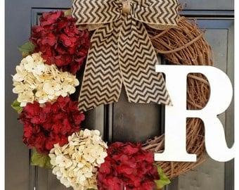 Fall wreath, cranberry red and cream hydrangea wreath with black chevron bow, housewarming, gift, door wreath