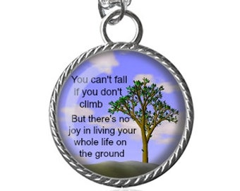 Life Necklace, Inspirational Quote Necklace, Life Lesson Image Pendant Key Chain Handmade