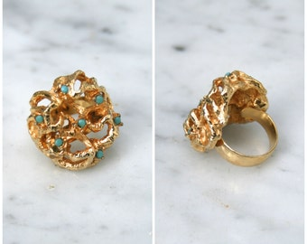 1960s | Turquoise & Goldtone Adjustable Nugget Ring