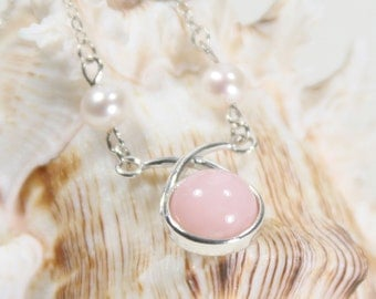 Sterling Silver Round High Dome Pink Opal Necklace