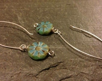 Sea foam Czech glass flower 925 sterling silver drop earrings