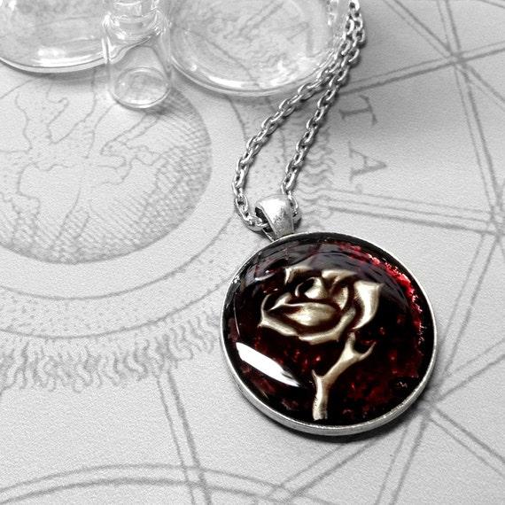Plum Single Rose : hand embossed repoussé metal pendant necklace