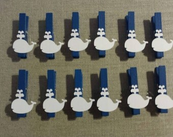 2 inch blue nautical clothespins- decorative clothespins/ birthday/ baby shower games/ embellishment/ photo display