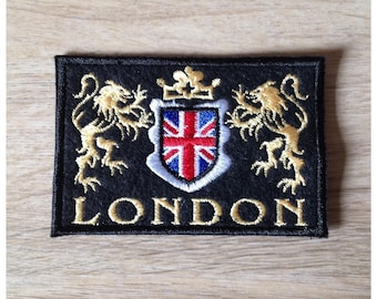 Fusible patch, patch to sew or glue LONDON/London black flag