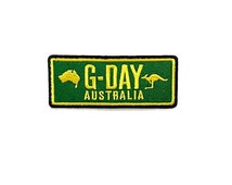 G-DAY Australia Kangaroo Green Patch Banner - G'day Mate Australia New Sew / Iron On Patch Embroidered Applique Size 3.5cm.x8.6cm.