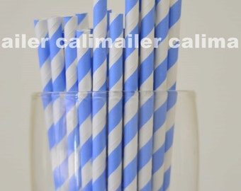 SALE - 50 Baby Blue Stripe Paper Straws for party, wedding, birthday, Halloween