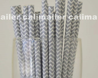 SALE - 50 Silver Chevron Paper Straws for party, wedding, birthday, Halloween