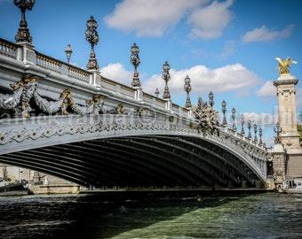 Alexander 3 Paris Photo Fine Art Photography Parisian Paris Photo Bridge Seine Gold Statue Urban European Romantic France Landmark