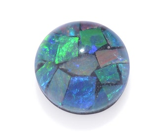 Australian Mosaic Opal Chip Triplet Round Cabochon 1A Quality 6mm TGW 0.60 Cts.