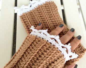 Brown Crochet Wrist Warmers with Crochet Lace Detail, Fingerless Gloves with Lace, Arm Warmers with White Lace, Fingerless Gloves for Women