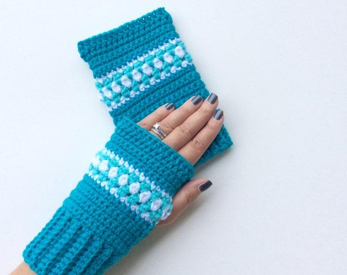 Turquoise Wrist Warmers, Crochet Fingerless Texting Gloves, Warm Crochet Wrist Warmers or Fingerless Gloves, Arm Warmers
