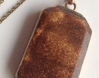 Large Antique Art Deco Gold Stone Gold Filled Pendant Necklace
