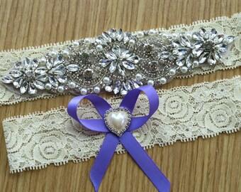 Wedding garter ,Bridal garter sets,vintage lace garter set ,Ivory Garter sets,  choose hair bow color,with Pearl Crystal Rhinestone, WD39