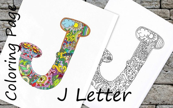 Coloring Letter J Download Adult Page Hand Drawn Zentangle Inspired The Alphabet Colouring Relaxing Activity Family Kids