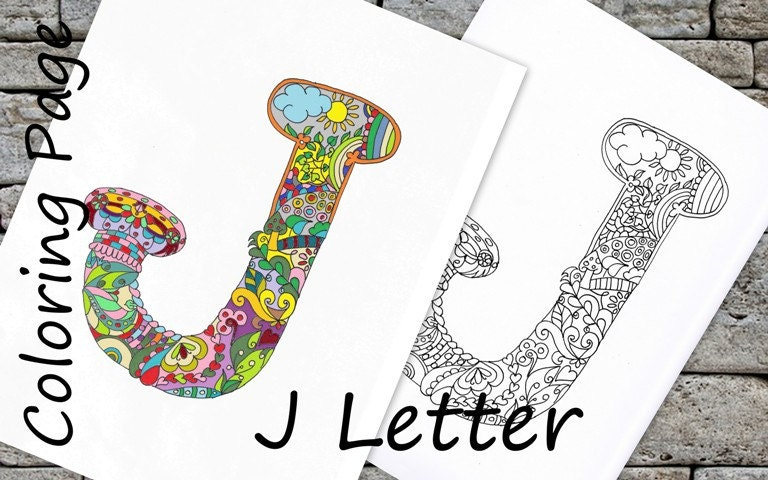 Coloring Letter J Download Adult Coloring Page Hand Drawn