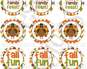 "1"" Digital Bottle Cap Sheet **INSTANT DOWNLOAD** Happy Thanksgiving Fall Fun"