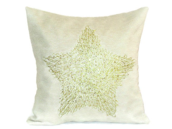Cream Sequin Throw Pillows : Gold Star throw pillow cover 18x18 Sequin applique cushion