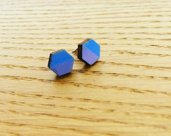 Blue and Lilac Hexagonal Wood and Sterling Silver Earrings