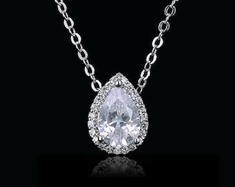 Crystal teardrop bridal necklace, diamond bridal jewelry, wedding crystal necklace, Swarovski bridal necklace, bridesmaid necklace