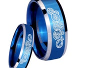 His Hers 2 Pcs Tungsten Doctor Who Shiny Blue Beveled Edge Engraved Ring Set Half Size