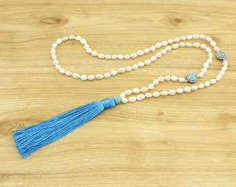 Tassel Necklace - Beaded Necklace - Long Pearl beaded necklace - turquoise necklace - 1 piece - ETS-S529