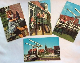 Set of 4 postcards 1960's Holland