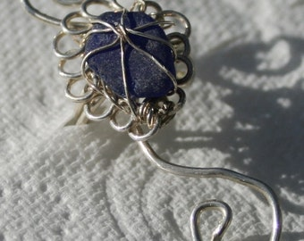 EAR CUFF - in cobalt sea glass and Sterling Silver setting.
