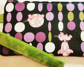 Vintage Pink panther wristlet, coin purse, zipper pouch.