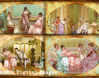 Instant download, vintage ladies shabby chic, digital collage sheet for greeting cards, gift tags printable, art cards, REGGIANINI PAINTINGS