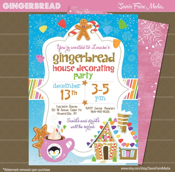 Gingerbread birthday party house decorating gumdrops Gingerbread house decorating party invitations