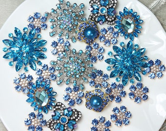 Lot 40 BLUE TONE Crystal Button Rhinestone Brooch Wedding Accessories Bouquet Supplies Wedding Invitation Decor Wholesale Brooches Pins DIY