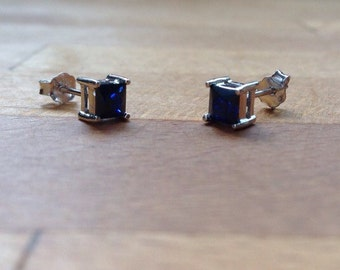 Blue sapphire square sterling silver stud minimalist earrings