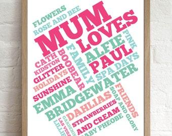 Christmas Gift for Mum Mom Personalised Loves Typography Print Unframed
