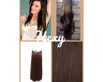 """12"""" long HALO HEXY FLIP in Medium dark choc brown #4 human remy secret magic invisible miracle wire hair extensions headband circle crown"""