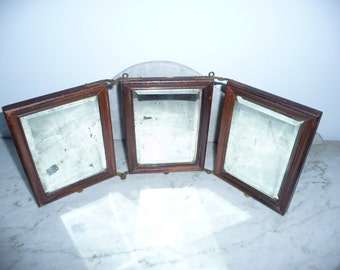 Victorian antique travel 3 sections folding mirror – circa 1880-1890