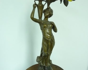 Antique Art Nouveau spelter lamp made by ''Omerth'' – circa 1900