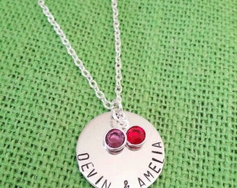 ON SALE Hand stamped two name necklace with two Swarovski crystal birthstone charms. Personalized......